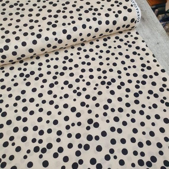Kokka Baumwollstoff - Spotted - weiß-schwarz