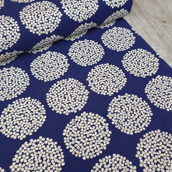 Kobayashi Canvas Flower Dots - dunkelblau-weiss