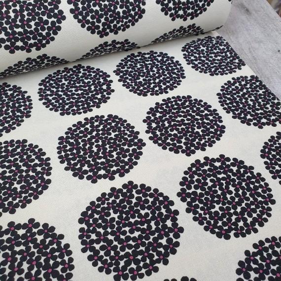 Kobayashi Canvas Flower Dots - weiß-schwarz