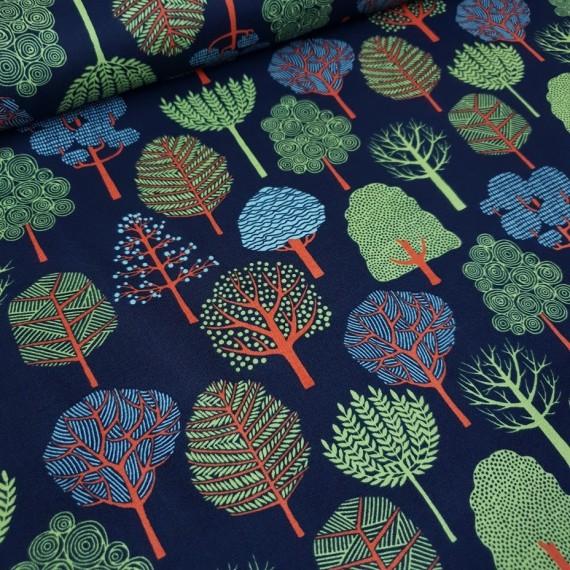 Baumwollstoff - Garden Trees - dunkelblau