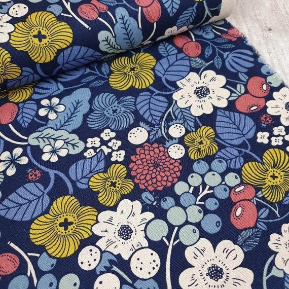 Baumwoll-Leinen Mix Canvas - Blumenmix dunkelblau