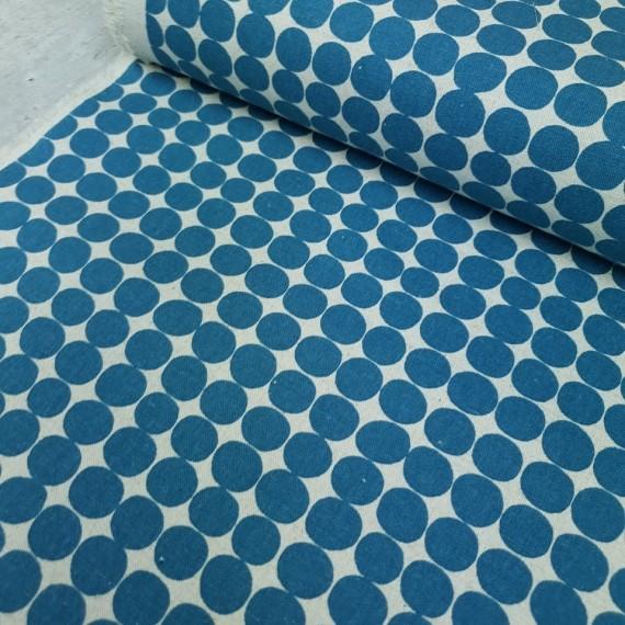 Canvas Dotties - ecru-blau