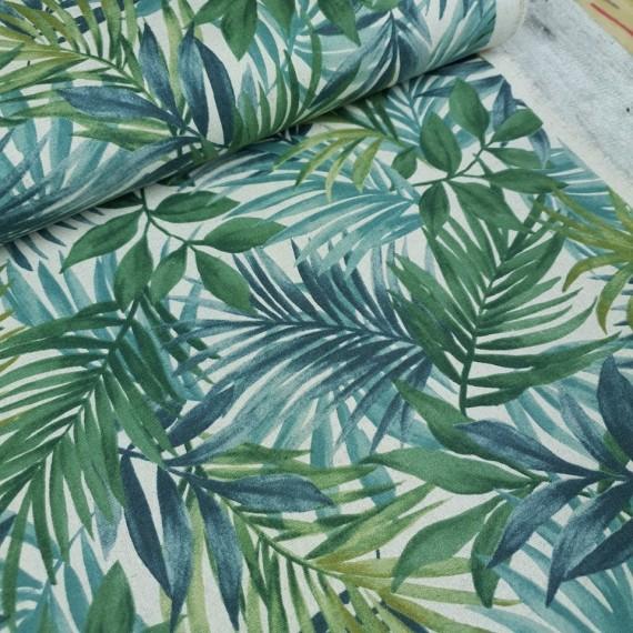 Canvas Palm Leaves - blue