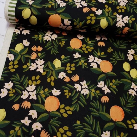 Cotton+Steel Canvas - Primavera Citrus Flower - black