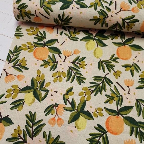 Cotton+Steel Canvas - Primavera Citrus Flower - linen
