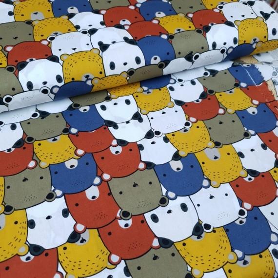Baumwollstoff Bären - multi