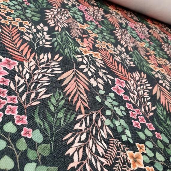 MYO Design - Heavy Canvas - Boho Leaves - dunkelblau