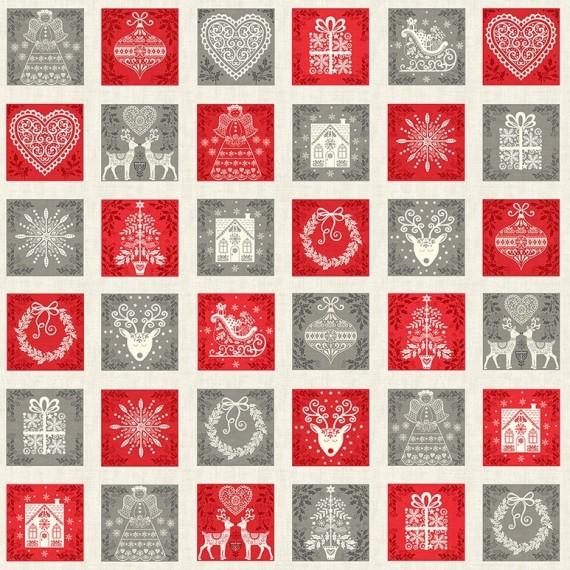 Makower - Scandi Squares - Weihnachtsquadrate