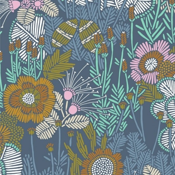 """""""Embroidered Florals"""" Organic Cotton - Cloud9 Fabrics"""