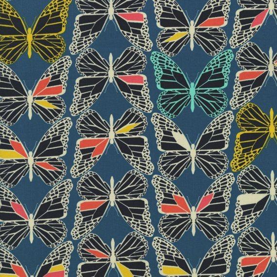 """Cotton + Steel """"Moonlit"""" Schmetterlinge auf blau"""