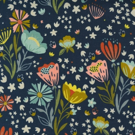 Posie Pocket, midnight - Songbook - Moda Fabrics