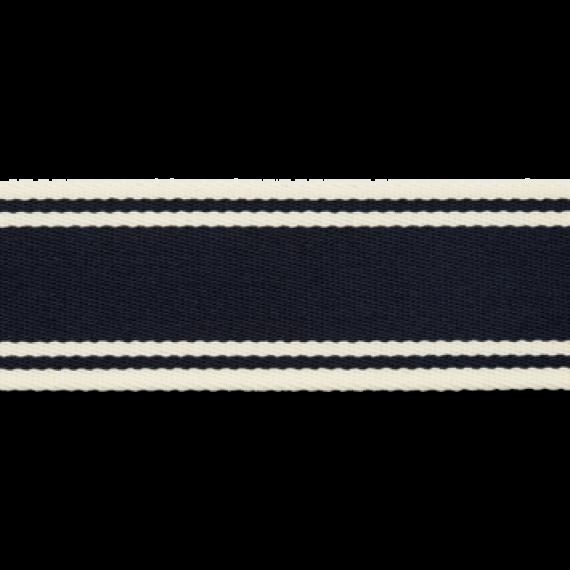 Maritimes Gurtband 40mm breit - dunkelblau-weiß