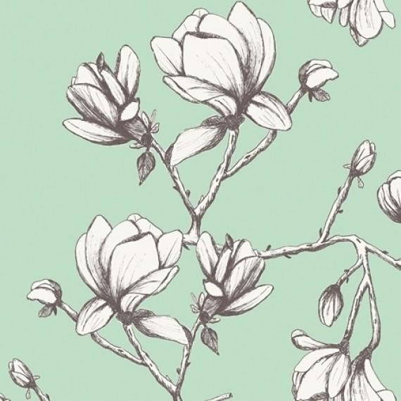"Reststück 46cmx145cm - ""Magnolia Study"" Art Gallery Canvas designed by Bari J."