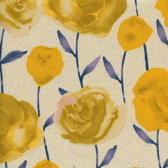 Cotton and Steel - Firelight - Roses yellow