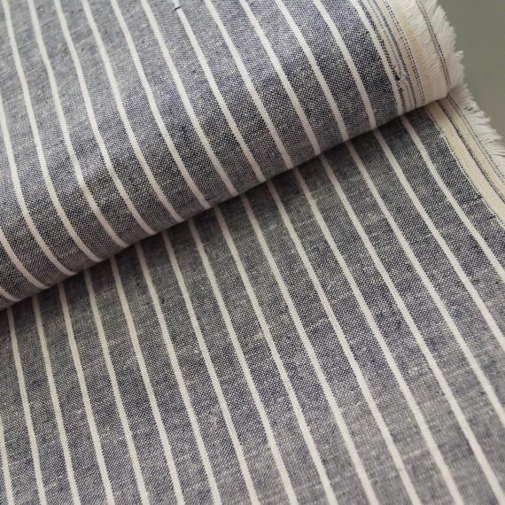 Leinen-Baumwoll Chambray - navy - weiße Streifen