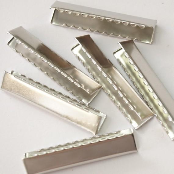 Schlüsselband-Endklammer silber glänzend 40mm