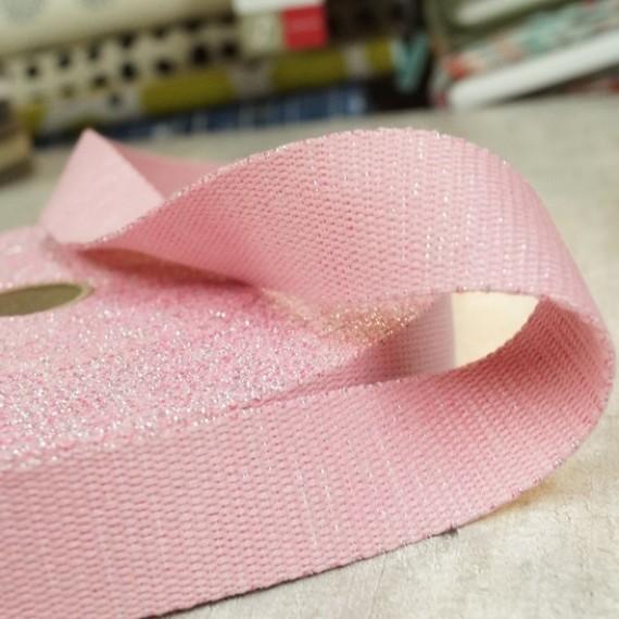 Glitzer Gurtband - 30mm - rosa
