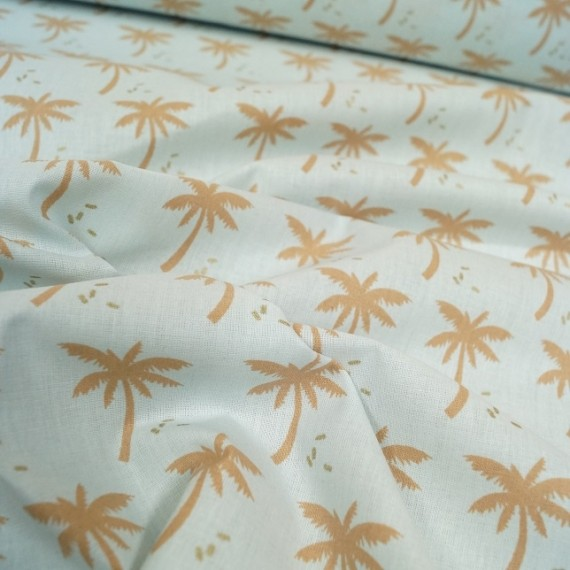 Baumwollstoff Palms hellblau