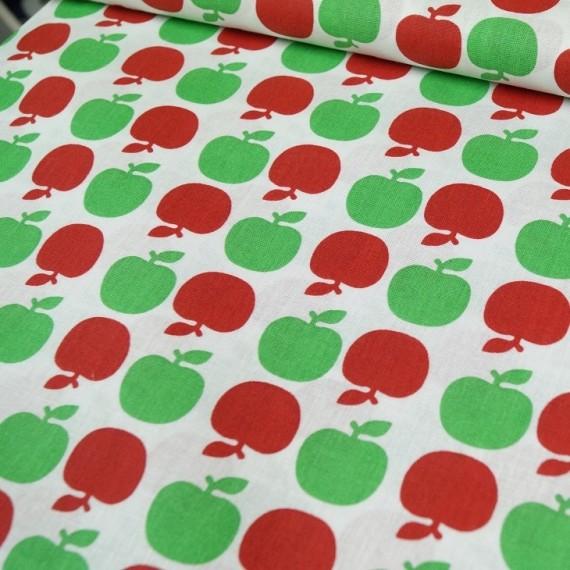Apfel Baumwollstoff Rot-Grün