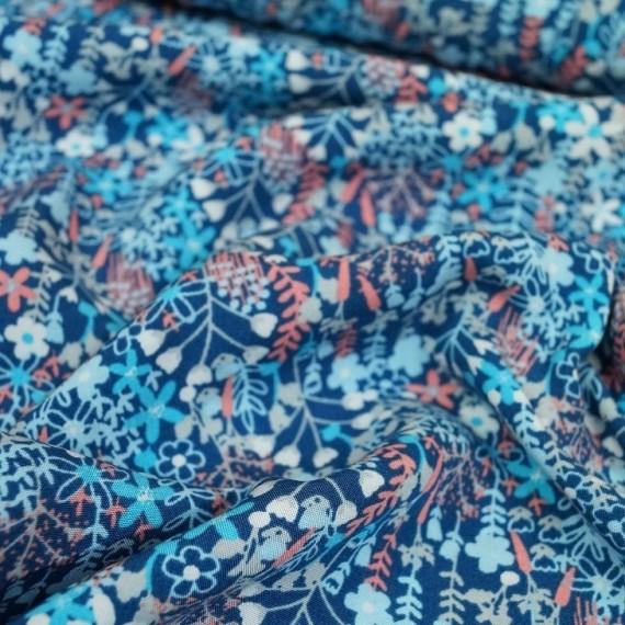 Viskose Webware Blue Flowers