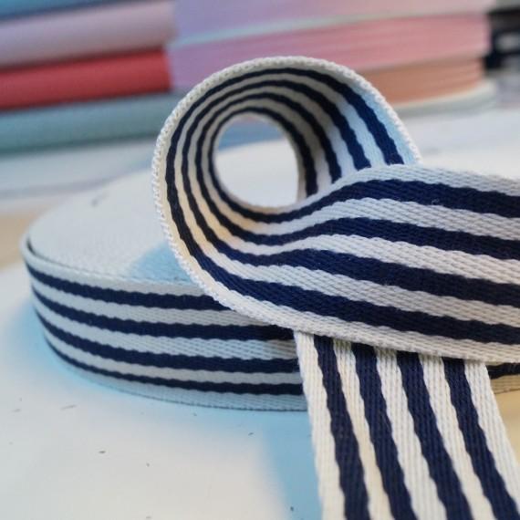 Gurtband Baumwolle 38mm breit - navy-weiss