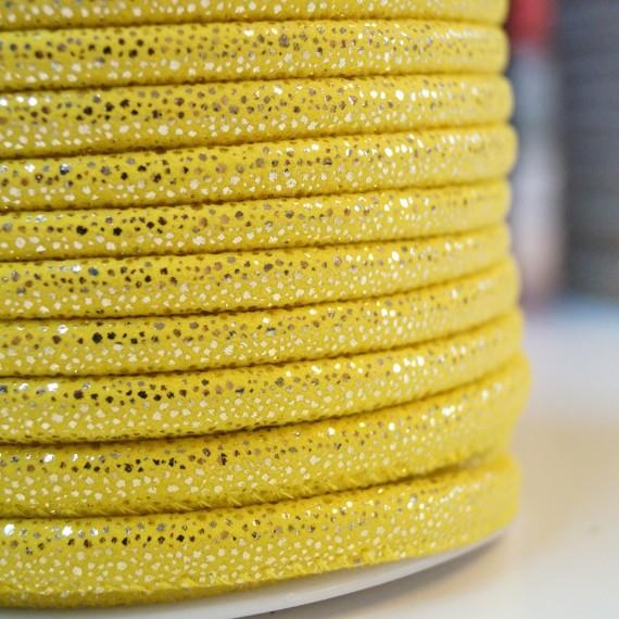 Glamour Lederkordel - 5mm - gelb