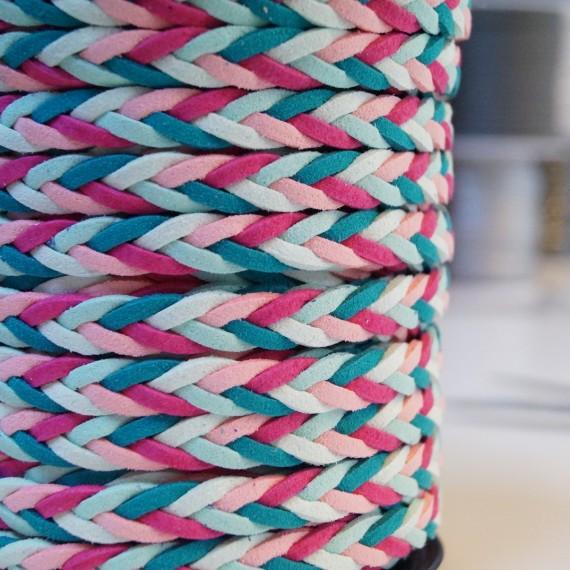 Geflochtenes Lederband / Kordel - multi rosa-mint