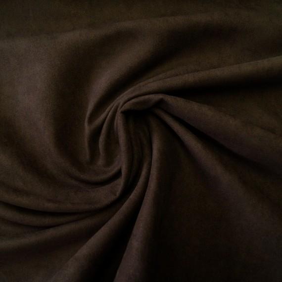 Reststück 71cmx145cm - Velour-Lederimitat braun