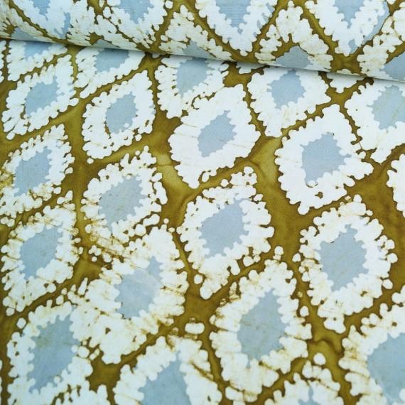 Canvas Batik-Rauten ocker-grau