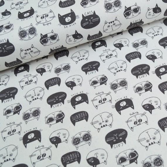 Kokka Leinen-Mix schwarz-weiß Kätzchen