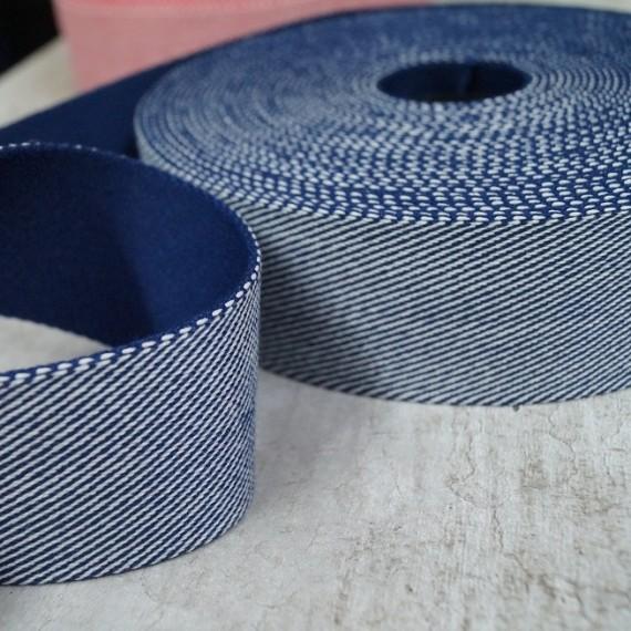 Feingestreiftes Gurtband 40mm breit - blau-weiß
