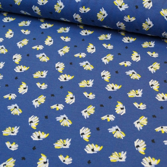 Reststück 1mx1,50m - Jersey blau mit Blüten