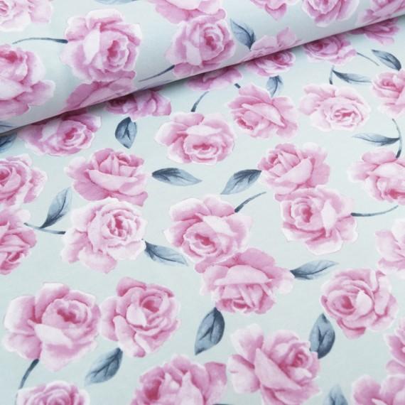 "Reststück 1mx1,45m - Hilco Baumwoll-Viskose-Sweat ""Filipa-Roses"" rosé"