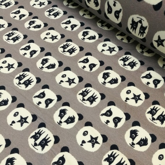 "Reststück 82cmx150cm - Hilco ""Trouble Panda"" Sweat"