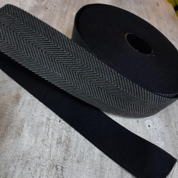 Fischgrät Gurtband 40mm breit - schwarz