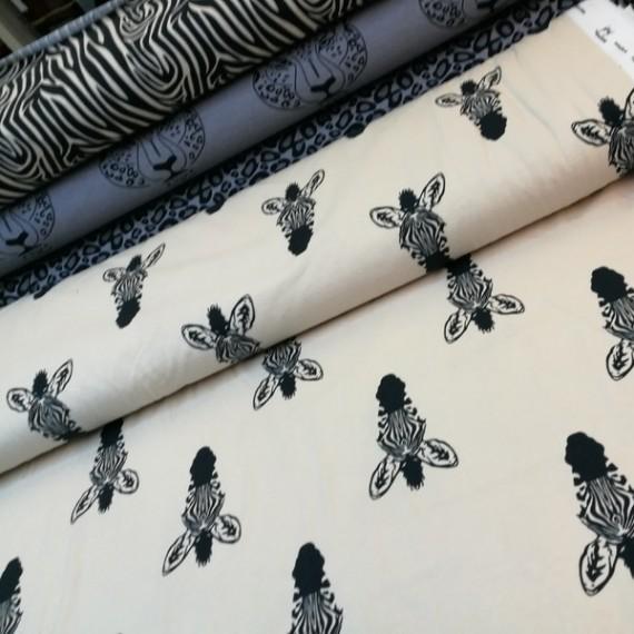 Reststück 1mx1,50m - Happy Zebra - Jersey in weicher Bio Qualität