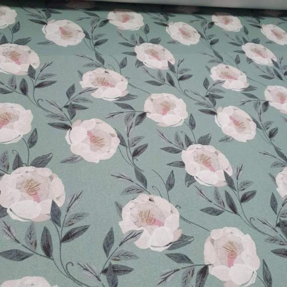 MYO Design Heavy Canvas - weisse Wildrosen - mint