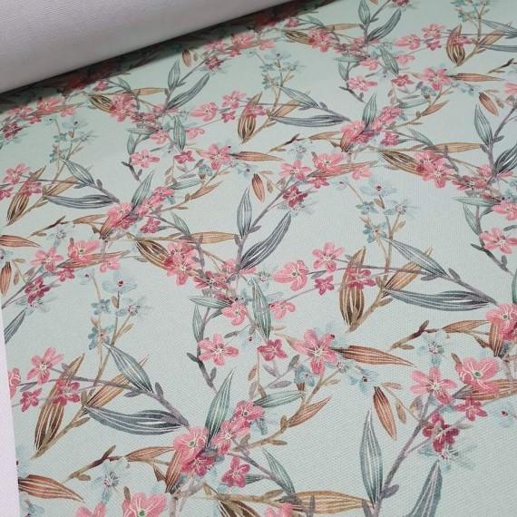 MYO Design Heavy Canvas - Blütenranken - mint