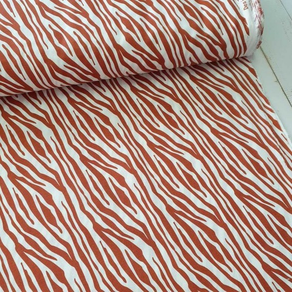 Baumwollstoff Zebra - terracotta-weiss - Stenzo