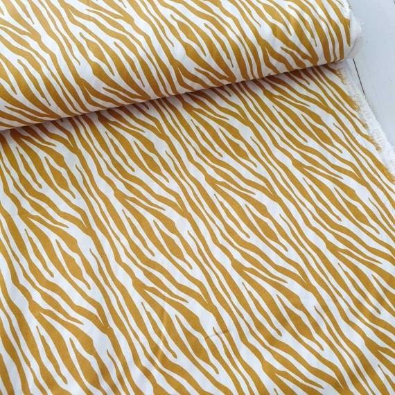 Baumwollstoff Zebra - senf-weiss - Stenzo