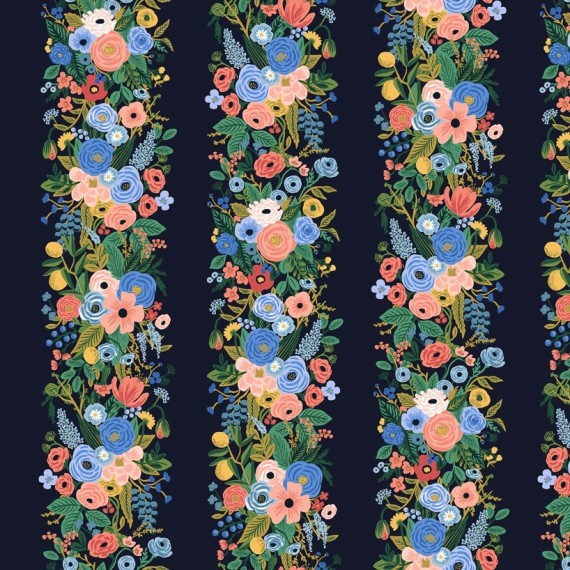 Cotton and Steel - Rifle Paper Co. - Wildwood - Floral Vines - navy