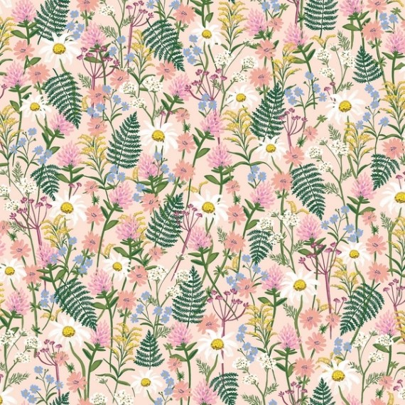 Cotton and Steel - Wildwood - Wildflowers - pink