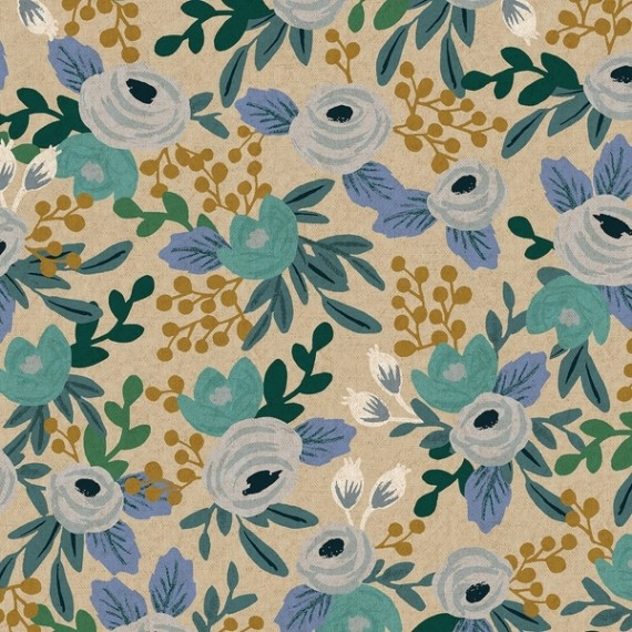 Cotton+Steel Canvas - Garden Party - Rosa unbleached blue