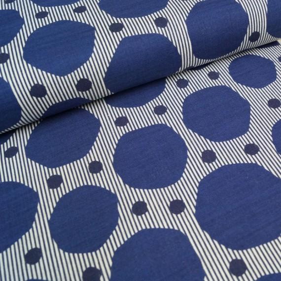 Leichter Canvas - Stripe Dot - indigo
