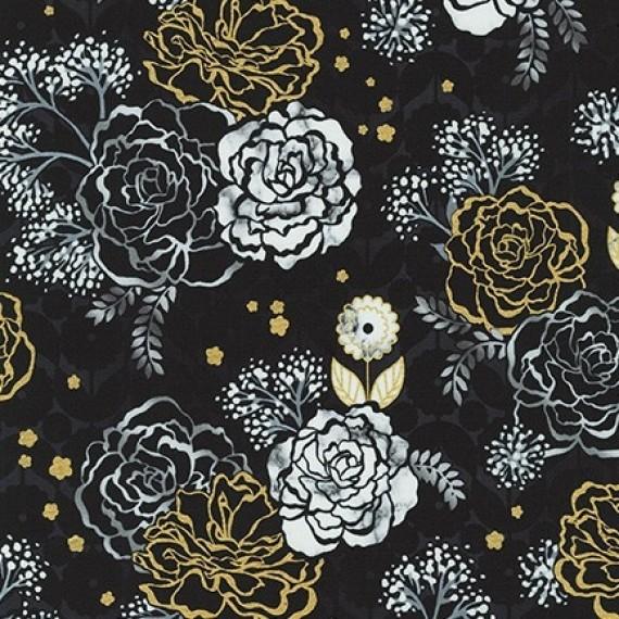 Robert Kaufman - Silverstone - Shimmering garden - metallic - onyx