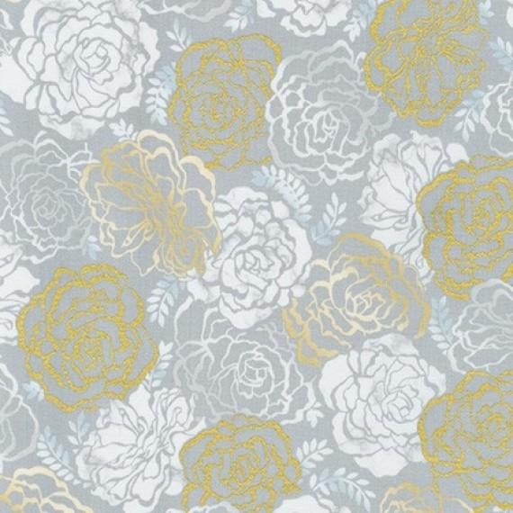 Robert Kaufman - Silverstone - Shimmering garden - metallic - taupe