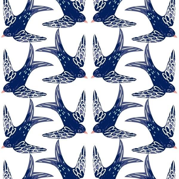 3 Wishes Fabrics - Madison - Schwalben