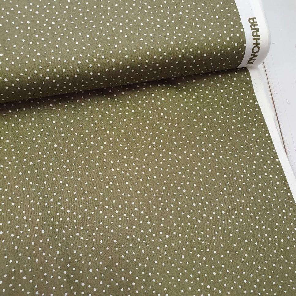 Baumwollstoff - Japanische Dotties oliv