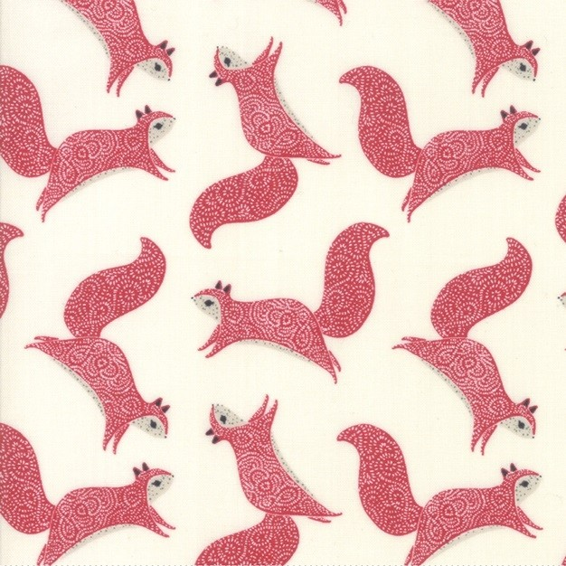 "Moda ""Bramble"" - Squirrels - cream and red"