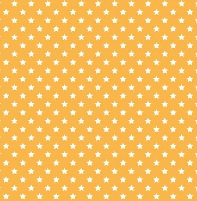 Quarter 54cmx56cm - Makower - Sterne auf gelb - Little Monsters